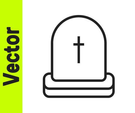 Black line Tombstone icon isolated on white background. Grave icon. Happy Halloween party. Vector Stock Illustratie