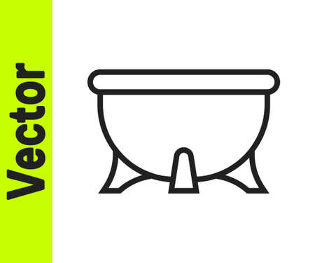 Black line Halloween witch cauldron icon isolated on white background. Happy Halloween party. Vector Stock Illustratie