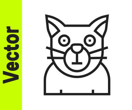Black line Cat icon isolated on white background. Animal symbol. Happy Halloween party. Vector Stock Illustratie