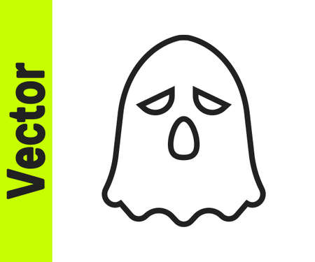 Black line Ghost icon isolated on white background. Happy Halloween party. Vector
