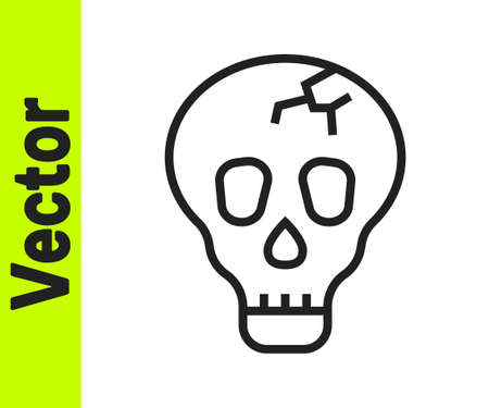 Black line Skull icon isolated on white background. Happy Halloween party. Vector