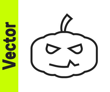 Black line Pumpkin icon isolated on white background. Happy Halloween party. Vector