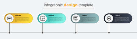 Set line Clock 24 hours, Computer monitor and FAQ, Piece of puzzle and Browser help. Business infographic template. Vector