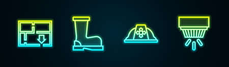 Set line Evacuation plan, Fire boots, Firefighter helmet and Smoke alarm system. Glowing neon icon. Vector