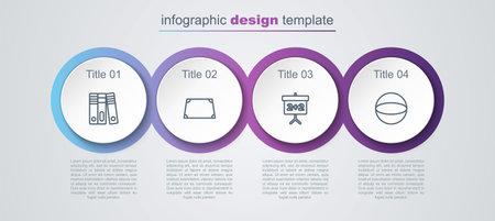 Set line Office folders, Acute trapezoid shape, Chalkboard and Geometric figure Sphere. Business infographic template. Vector Vector Illustratie