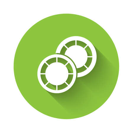 White Casino chips icon isolated with long shadow. Casino gambling. Green circle button. Vector 矢量图片