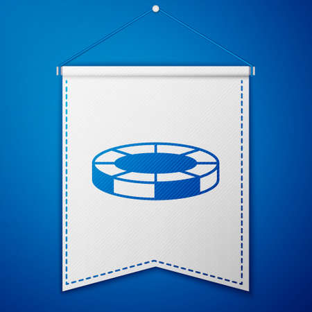 Blue Casino chips icon isolated on blue background. Casino gambling. White pennant template. Vector