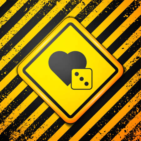 Black Game dice icon isolated on yellow background. Casino gambling. Warning sign. Vector Vector Illustration