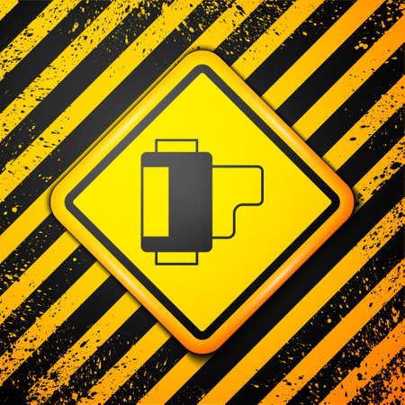Black Camera vintage film roll cartridge icon isolated on yellow background. 35mm film canister. Filmstrip photographer equipment. Warning sign. Vector