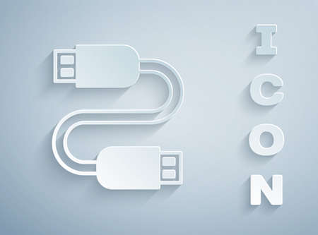 Paper cut USB cable cord icon isolated on grey background. Connectors and sockets for PC and mobile devices. Paper art style. Vector
