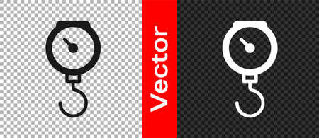 Black Hand scale spring mechanical icon isolated on transparent background. Vector Vektorové ilustrace