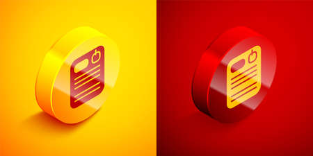 Isometric Dossier folder icon isolated on orange and red background. Circle button. Vector