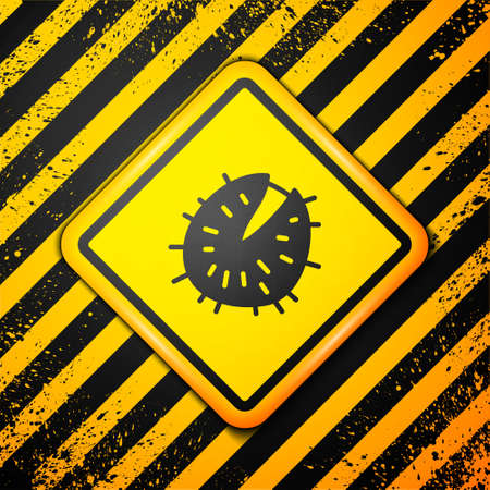Black Chestnut icon isolated on yellow background. Barbed and strong chestnut. Warning sign. Vector