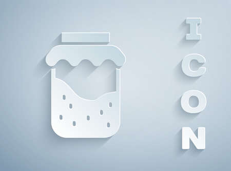 Paper cut Jam jar icon isolated on grey background. Paper art style. Vector