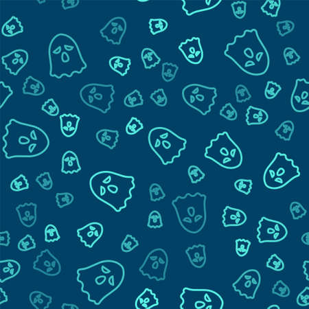 Green line Ghost icon isolated seamless pattern on blue background. Happy Halloween party. Vector