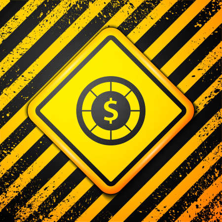 Black Casino chips icon isolated on yellow background. Casino gambling. Warning sign. Vector