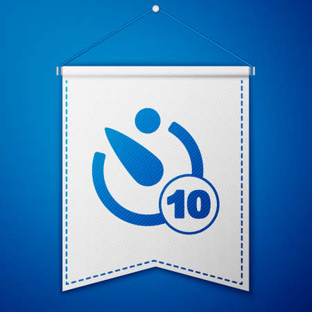 Blue Camera timer icon isolated on blue background. Photo exposure. Stopwatch timer 10 seconds. White pennant template. Vector Vector Illustratie