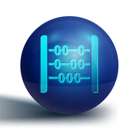 Blue Abacus icon isolated on white background. Traditional counting frame. Education sign. Mathematics school. Blue circle button. Vector