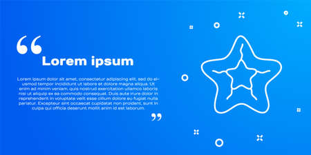 White line Starfish icon isolated on blue background. Vector