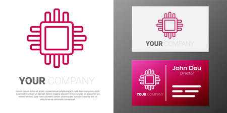 Logotype line Computer processor with microcircuits CPU icon isolated on white background. Chip or cpu with circuit board. Micro processor. Logo design template element. Vector