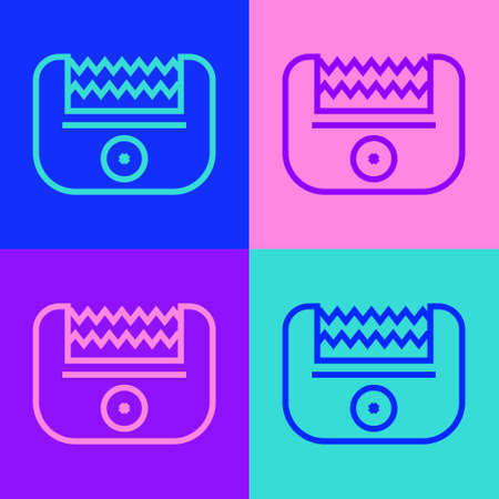Pop art line Electrical hair clipper or shaver icon isolated on color background. Barbershop symbol. Vector Vector Illustratie