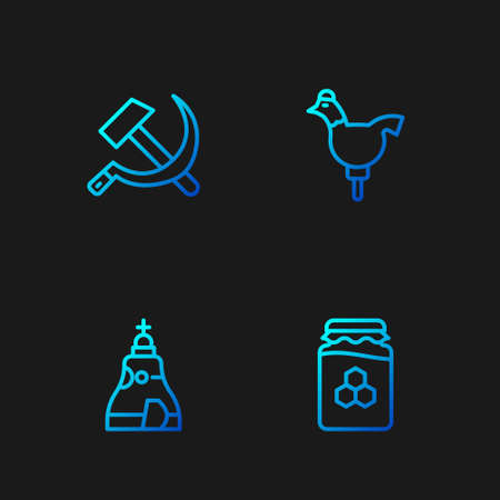 Set line Jar of honey, The Tsar bell, Hammer and sickle USSR and Cockerel lollipop. Gradient color icons. Vector