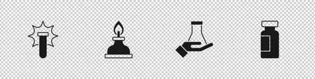 Set Chemical explosion, Alcohol or spirit burner, Test tube and flask and icon. Vector
