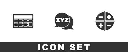 Set Calculator, XYZ Coordinate system and icon. Vector