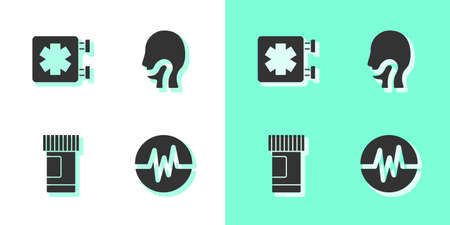 Set Heart rate, Medical symbol of the Emergency, Medicine bottle and pills and Sore throat icon. Vector
