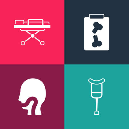 Set pop art Crutch or crutches, Sore throat, X-ray shots and Stretcher icon. Vector