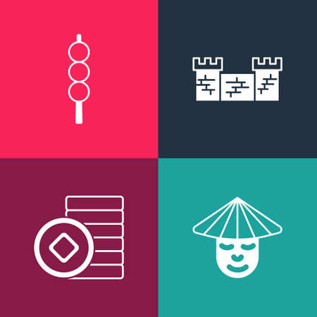 Set pop art Chinese man, Yuan currency, Great wall of China and Meatballs on wooden stick icon. Vector
