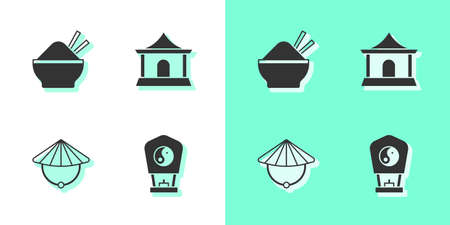 Set Chinese paper lantern, Rice bowl with chopstick, conical straw hat and house icon. Vector