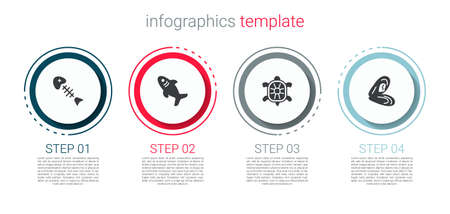 Set Fish skeleton, Shark, Turtle and Mussel. Business infographic template. Vector