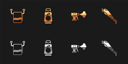 Set Towel on a hanger, Bottle of shampoo, Hairdresser pistol spray bottle and Electrical hair clipper icon. Vector