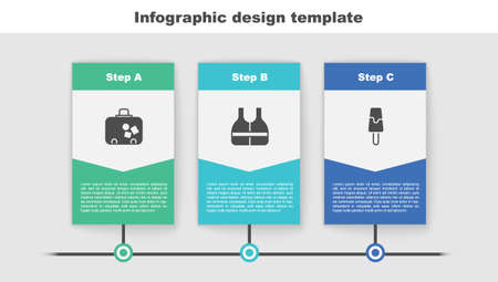 Set Suitcase, Life jacket and Ice cream. Business infographic template. Vector