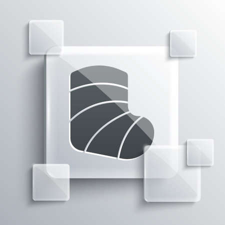 Grey Gypsum cast medical health broken leg icon isolated on grey background. Square glass panels. Vector