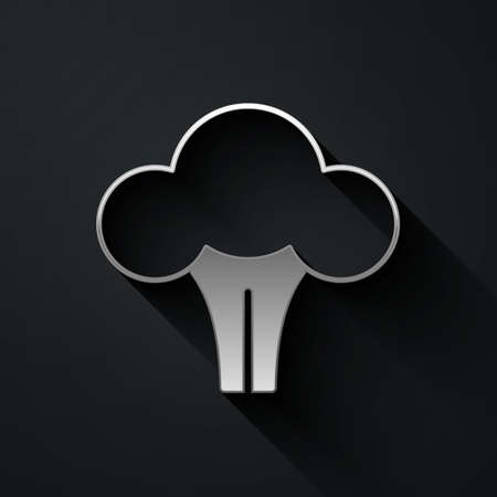Silver Broccoli icon isolated on black background. Long shadow style. Vector