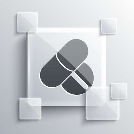 Grey Medicine pill or tablet icon isolated on grey background. Capsule pill and drug sign. Pharmacy design. Square glass panels. Vector