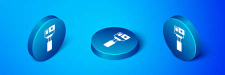 Isometric Action extreme camera icon isolated on blue background. Video camera equipment for filming extreme sports. Blue circle button. Vector
