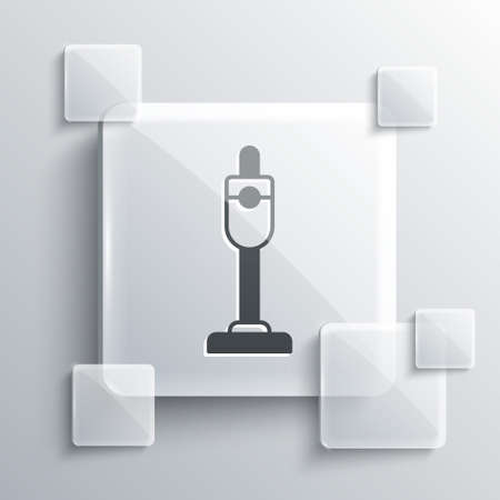 Grey Vacuum cleaner icon isolated on grey background. Square glass panels. Vector