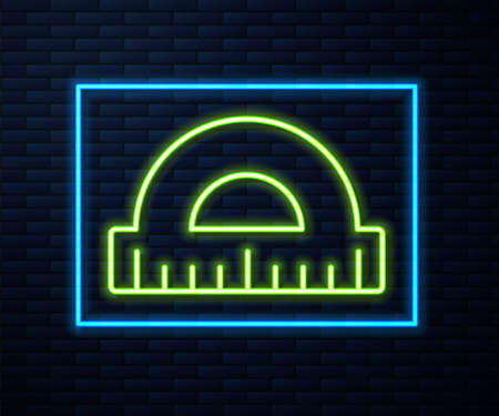 Glowing neon line Protractor grid for measuring degrees icon isolated on brick wall background. Tilt angle meter. Measuring tool. Geometric symbol. Vector