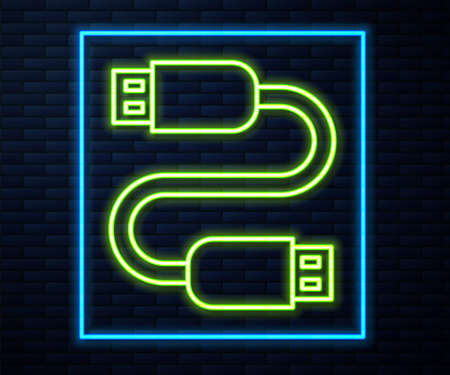Glowing neon line USB cable cord icon isolated on brick wall background. Connectors and sockets for PC and mobile devices. Vector 矢量图片