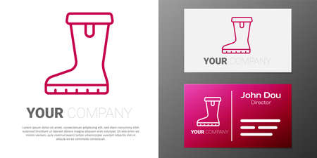 Logotype line Waterproof rubber boot icon isolated on white background. Gumboots for rainy weather, fishing, gardening.