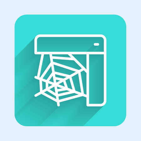 White line Spider web icon isolated with long shadow. Cobweb sign. Happy Halloween party. Green square button. Vector