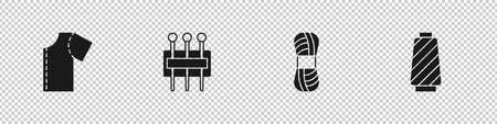 Set Sewing pattern, Needle for sewing, Yarn and thread on spool icon. Vector