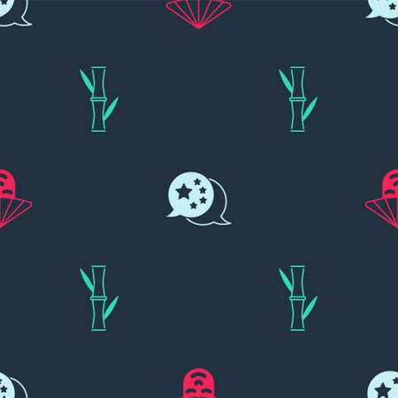 Set Chinese man, China flag and Bamboo on seamless pattern. Vector