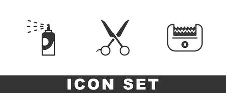 Set Spray can for hairspray, Scissors hairdresser and Electrical clipper icon. Vector Vector Illustratie
