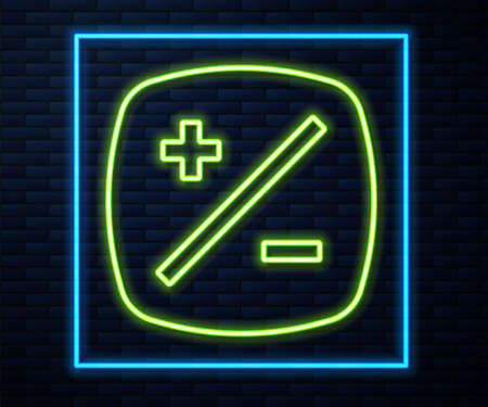Glowing neon line Exposure compensation icon isolated on brick wall background. Vector