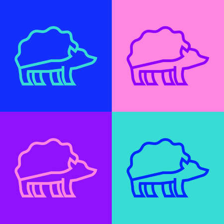 Pop art line Hedgehog icon isolated on color background. Animal symbol. Vector