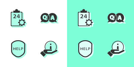 Set Information, Checklist with 24 hours service, Shield text Help and Question and Answer icon. Vector